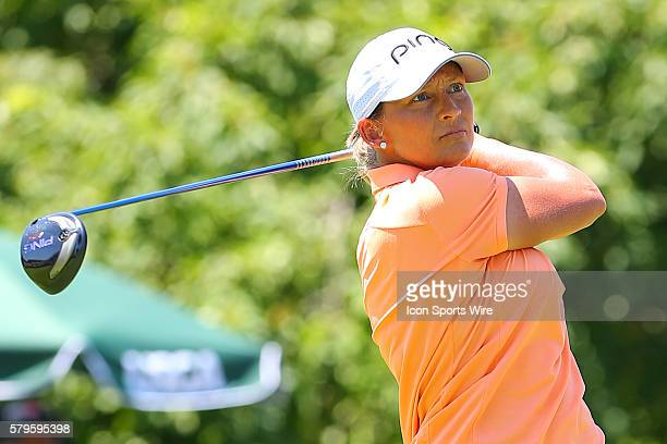 Angela Stanford of the USA tees off at the par 4 1st hole during the third round of the 2015 US Womens Open played at Lancaster Country Club in...
