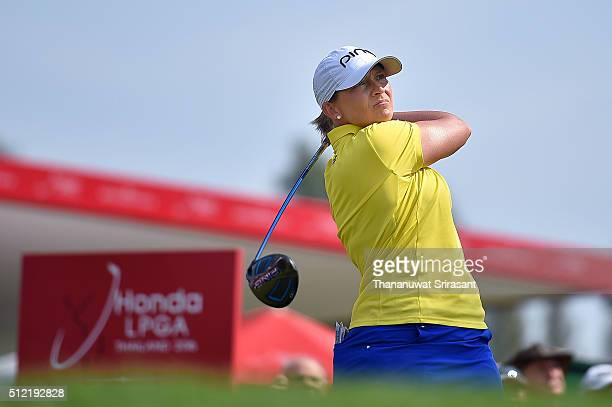 Angela Stanford of United states plays a shot during day one of the 2016 Honda LPGA Thailand at Siam Country Club on February 25 2016 in Chon Buri...