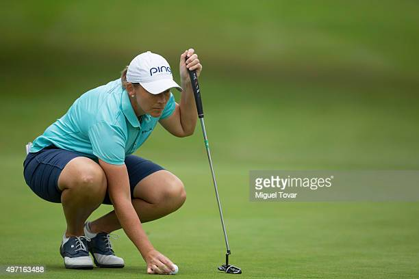 Angela Stanford of US lines up a putt during the third round of Lorena Ochoa Invitational 2015 at the Club de Golf Mexico on November 14 2015 in...