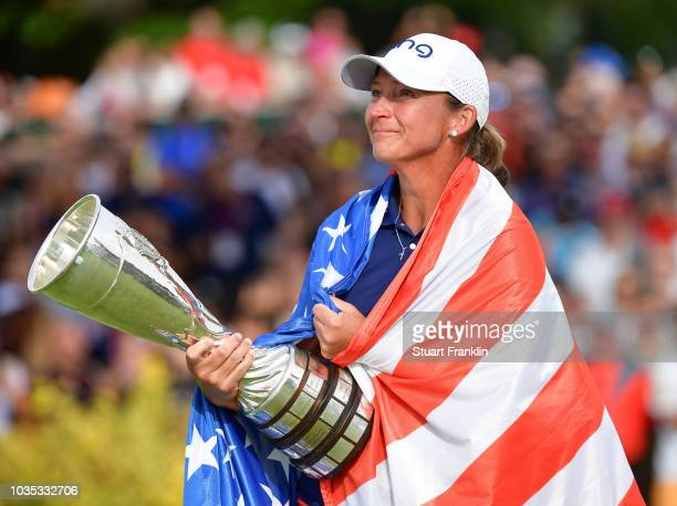 Angela Stanford of USA holdss the winner trophy after the final round of The Evian Championship at Evian Resort Golf Club on September 16 2018 in...