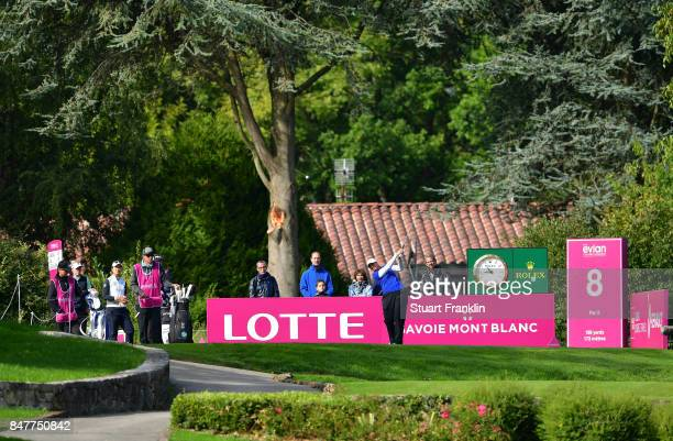 Angela Stanford of USA plays a shot during the second round of The Evian Championship 2017 at Evian Resort Golf Club on September 16 2017 in...