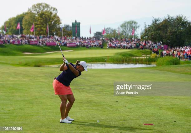 Angela Stanford of USA plays her second shot on the 18th hole during the final round of The Evian Championship at Evian Resort Golf Club on September...