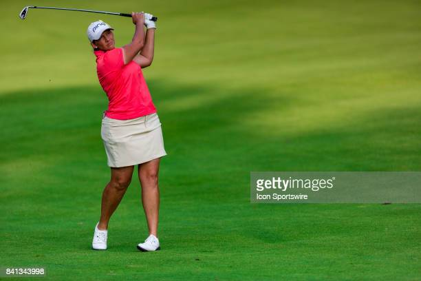 Angela Stanford plays a fairway shot on the 9th hole during the second round of the Canadian Pacific Women's Open on August 25 2017 at The Ottawa...