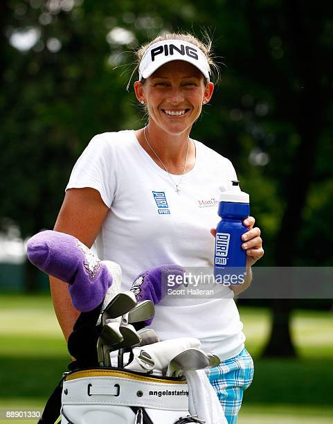 Angela Stanford poses in the 10th fairway during a practice round prior to the start of thw 2009 US Women's Open at the Saucon Valley Country Club on...