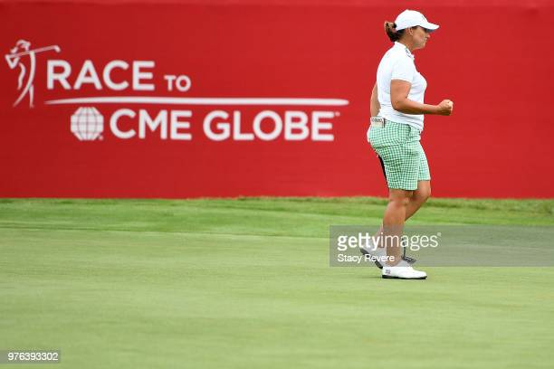 Angela Stanford reacts to a birdie on the 18th hole during the third round of the Meijer LPGA Classic for Simply Give at Blythefield Country Club on...