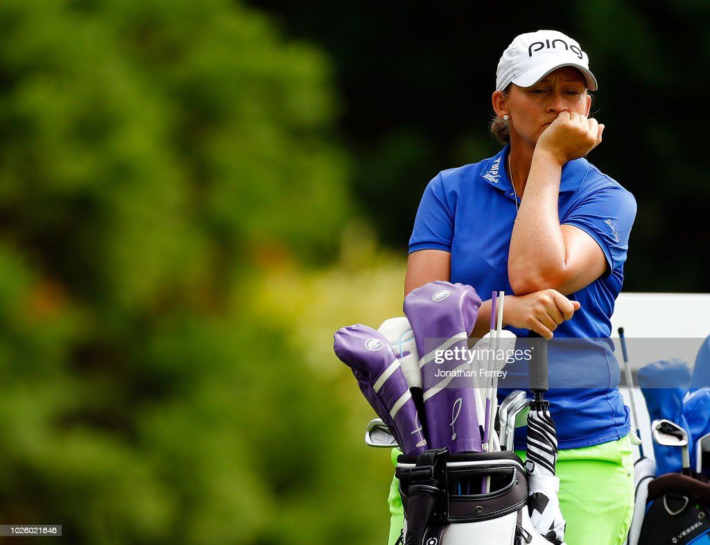 Angela Stanford waits on the 2nd hole during the third round of the LPGA Cambia Portland Classic at Columbia Edgewater Country Club on September 1, 2018 in Portland, Oregon.