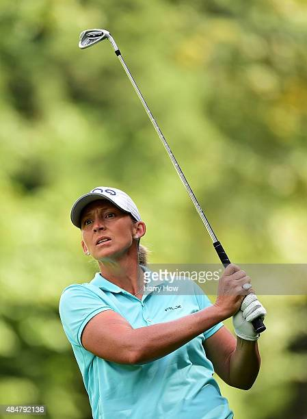 Angela Stanford watches her second shot on the second hole during the second round of the Canadian Pacific Women's Open at the Vancouver Golf Club on...