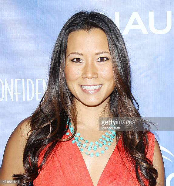 Angela Sun arrives Nautica and LA Confidential's Oceana Beach house party held at Marion Davies Guest House on May 16 2014 in Santa Monica California