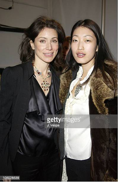 Angela TassoniNewley and Jihae Kim during MercedesBenz Fashion Week Fall 2003 Collections Lloyd Klein Backstage at Bryant Park in New York City...