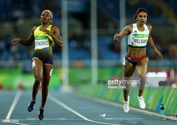 Angela Tenorio of Ecuador and Jodie Williams of Great Britain compete during the Women's 200m Semifinals on Day 11 of the Rio 2016 Olympic Games at...