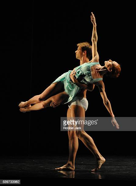 Angela Towler and Martin Joyce perform in Rambert Dance Company's production of Mark Baldwin's Eternal Light at Sadlers Wells in London
