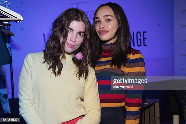 Angela Trimbur and Cleopatra Coleman pose for a photo in the Tone It Up Wellness Lounge during the Sundance Film Festiva on January 21, 2017 in Park...