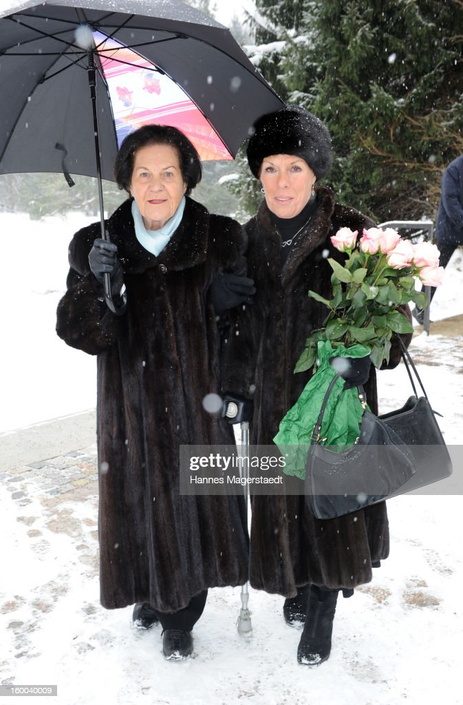 Angela Waldleitner and Eva Pressmar attend the memorial service for Steffen Kuchenreuther at the Waldfriedhof on January 25, 2013 in Munich, Germany.