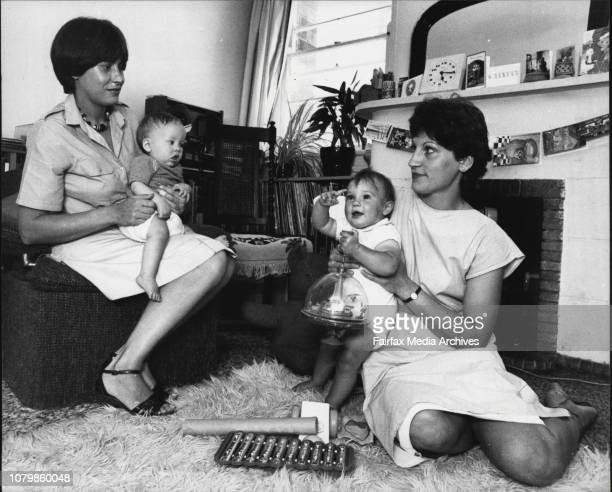 Angela Wales with her son Alec and Marg Miller with her daughter January 11 1984