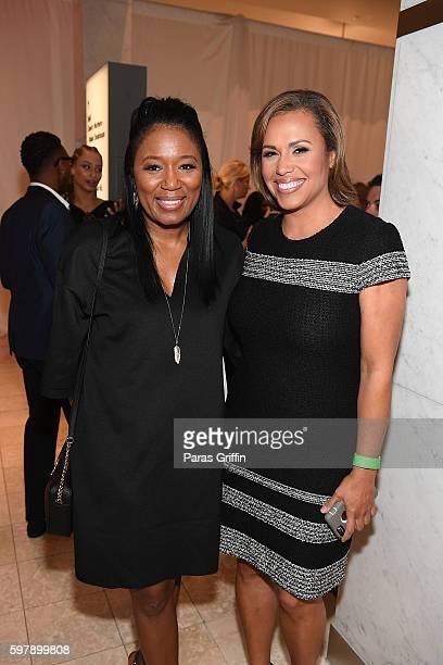 Angela Watts and Jovita Moore attend 2016 Jeffrey Fashion Cares Atlanta at Phipps Plaza on August 29 2016 in Atlanta Georgia