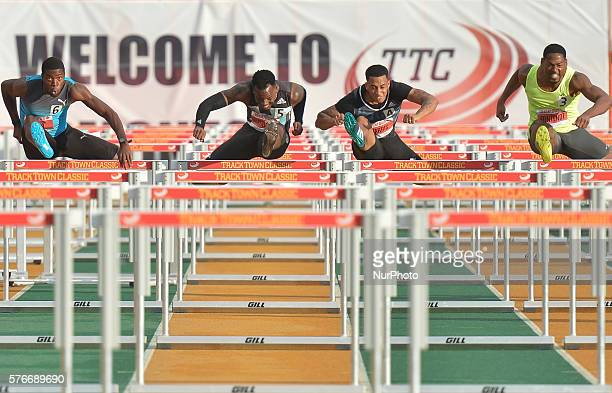 Angela Whyte Jaquelin Coward Dawn HarperNelson and Nikkita Holder during Women 100 M Hurdles at Track Town Classic at the University of Albertas...