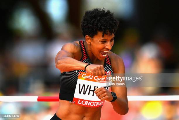 Angela Whyte of Canada celebrates in the Women's Heptathlon High Jump during athletics on day eight of the Gold Coast 2018 Commonwealth Games at...