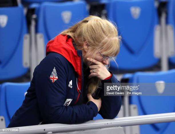 Angela Wright mother of Elise Christie appears dejected in the stands at the Gangneung Oval during day four of the PyeongChang 2018 Winter Olympic...