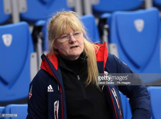 Angela Wright mother of Elise Christie in the stands at the Gangneung Oval during day four of the PyeongChang 2018 Winter Olympic Games in South Korea