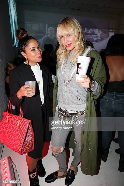Angela Yee and April Roomet attend the Jeezy 'Trap Or Die 3' Album Listening Session at Open House Gallery on October 19 2016 in New York City