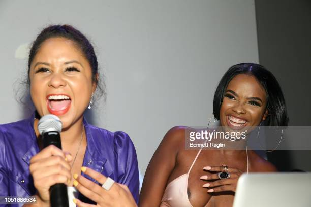 Angela Yee and Danielle Rosias attend the Hustle In Brooklyn premiere event on October 10 2018 in Brooklyn New York