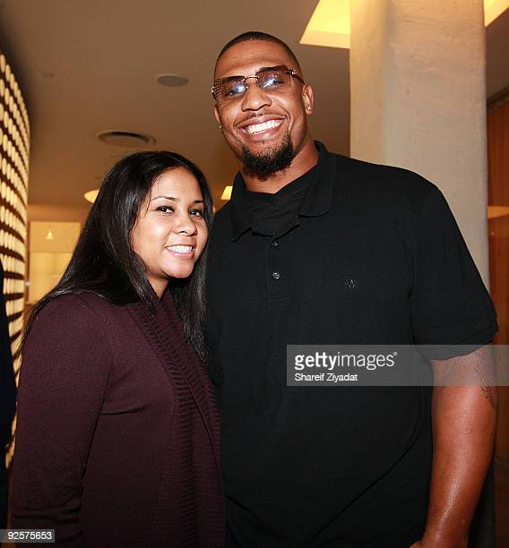 Angela Yee and Lamarr Woodley attend a celebration at the Moet Hennessy USA building on October 30 2009 in New York City