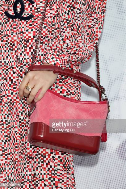 Angela Yuen bag detail from China attends the 'Mademoiselle Prive' exhibition at the DMuseum on June 21 2017 in Seoul South Korea