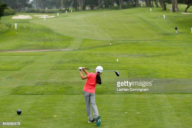 Angela Zhang competes in the Drive completion for the 79 year old girls during the Drive Chip and Putt Western Region Qualifying tournament at The...