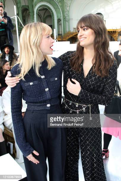 Angele and Clara Luciani attend the Chanel show as part of the Paris Fashion Week Womenswear Fall/Winter 2020/2021 on March 03 2020 in Paris France