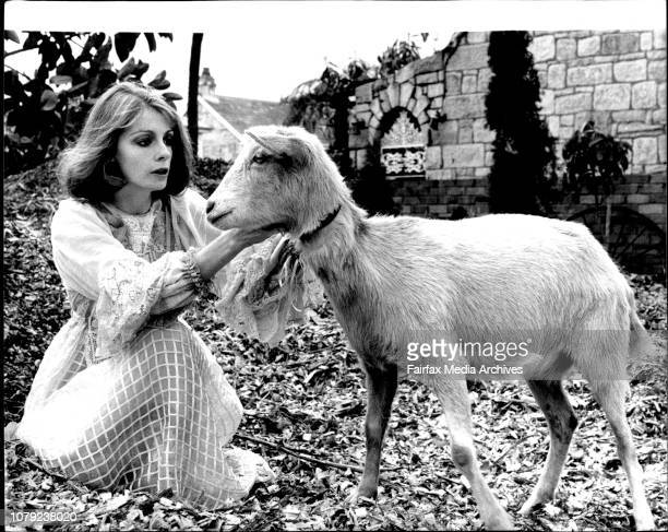 Angele Punch makes friends with Susie a friends pet goatSydney Actress Angela Punch of Coogee who is the leading lady in the play 'As You Like It'...