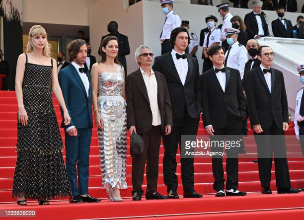 Angele, Simon Helberg, Marion Cotillard, director Leos Carax, Adam Driver, Russell Mael, and Ron Mael arrive for the screening of the film âAnnette'...