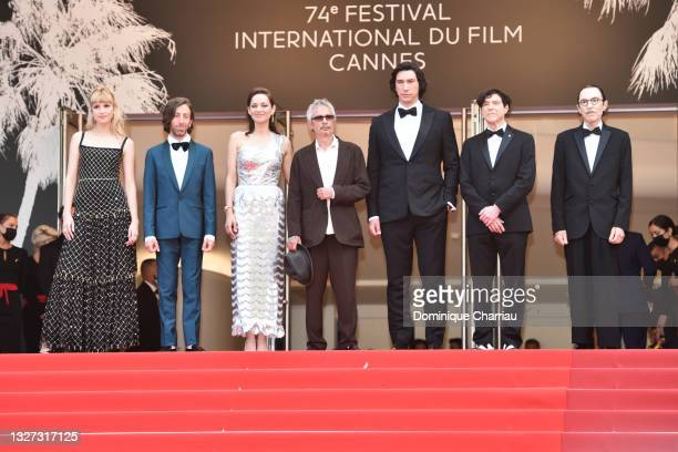 """Angele, Simon Helberg, Marion Cotillard, director Leos Carax, Adam Driver, Russell Mael and Ron Mael attend the """"Annette"""" screening and opening..."""