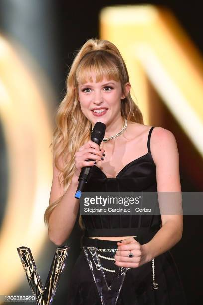 Angele Van Laeken aka Angele celebrates after receiving the best live show award during the 35th 'Les Victoires De La Musique' Show At La Seine...