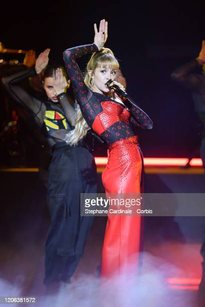 Angele Van Laeken aka Angele performs during the 35th 'Les Victoires De La Musique' Show At La Seine Musicale on February 14 2020 in...