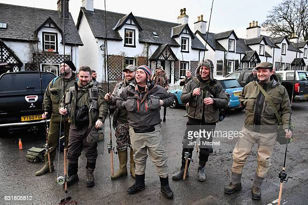 Angelers gather at the River Tay for the opening of the Salmon Fishing season on January 16, 2017 in Kenmore, Scotland. The village of Kenmore has...