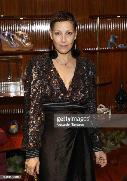 Angeles Almuna is seen at the Alexandre Birman Bal Harbor Store Opening Event on November 8 2018 in Miami Florida