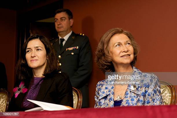 Angeles Gonzalez Sinde and Queen Sofia of Spain attend the 'XXVII Premio Reina Sofia de Composicion Musical 2009' at Monumental Theater on October 7...
