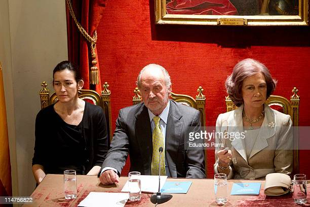 Angeles Gonzalez Sinde King Juan Carlos and Queen Sofia attend the Spanish Biograpichal Dictionary presentation at Royal History Academy on May 26...