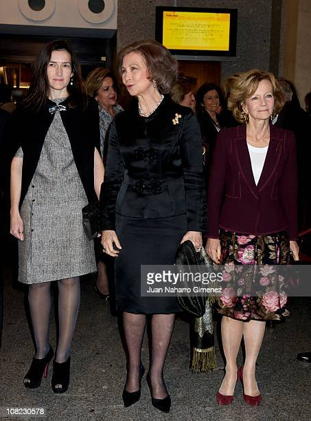 Angeles Gonzalez Sinde Queen Sofia of Spain and Elena Salgado attend the Placido Domingo's 70th birthday gala at Teatro Real on January 21 2011 in...