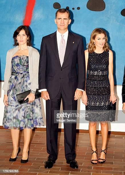 Angeles Gonzalez Sinde Spanish Crown Prince Felipe de Borbon and wife Letizia Ortiz attend the 'Joan Miro La Escalera de la Evasion' Painting...