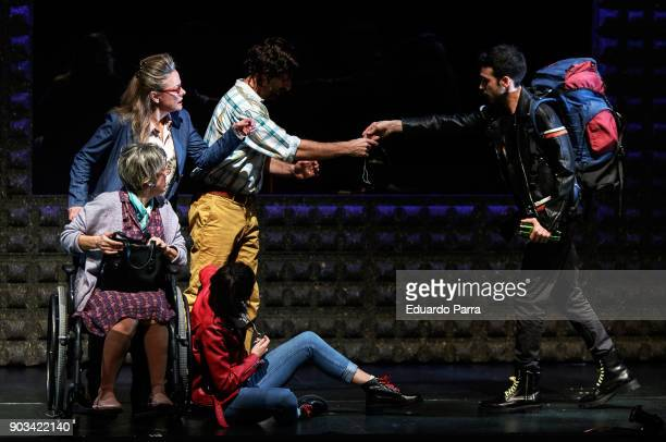 Angeles Martin Pepa Zaragoza Antonio Gil Carolina Yuste and Samuel Viyuela attend the theatre rehearsal of 'Hablar por hablar' theatre play at...