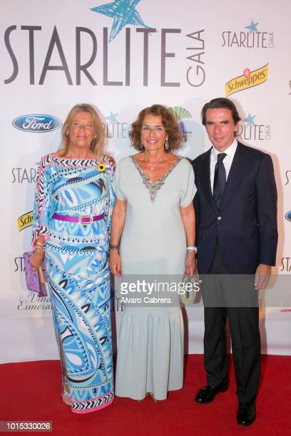 Angeles Munoz Ana Botella and Jose Maria Aznar attend the Starlite Gala on August 11 2018 in Marbella Spain