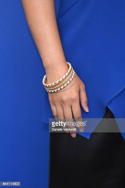 Angeles Woo bracelet detail attends the 'Zhuibu ' photocall during the 74th Venice Film Festival on September 8 2017 in Venice Italy