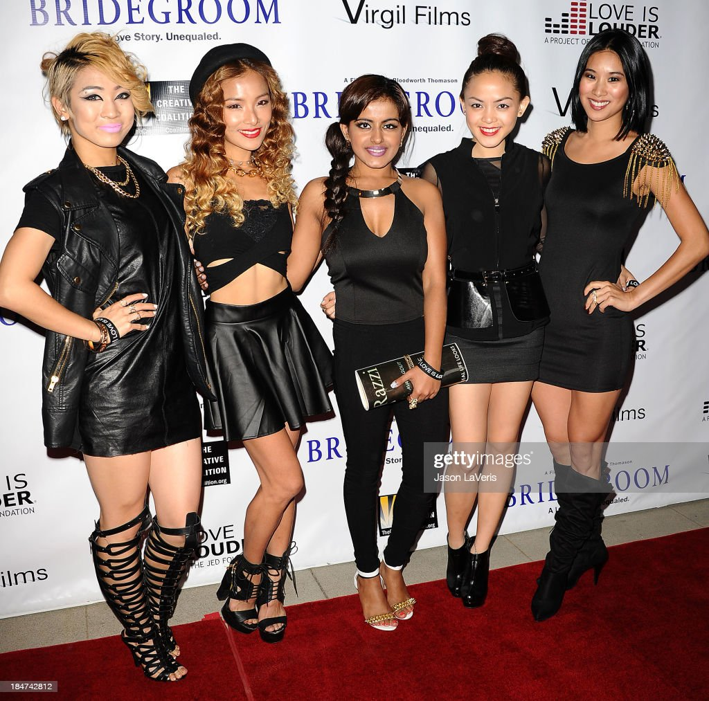 Angeli Flores, Alisha Budhrani, Ji Hae Lee, Natsuko Danjo and Victoria Chan of the girl group Blush attend the premiere of 'Bridegroom' at AMPAS Samuel Goldwyn Theater on October 15, 2013 in Beverly Hills, California.