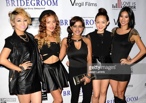 Angeli Flores Alisha Budhrani Ji Hae Lee Natsuko Danjo and Victoria Chan of the girl group Blush attend the premiere of 'Bridegroom' at AMPAS Samuel...