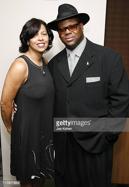 Angelia Bibbs Sanders of the Recording Academy and Jimmy Jam Chairman of the board of the Recording Academy attends the New York Chapter Open House...