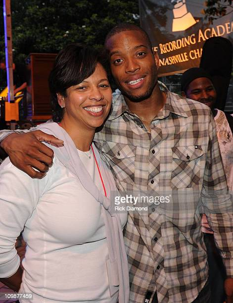 Angelia Bibbs Sanders Recording Academy and Recording Artist Trombone Shorty backstage at the 12th Annual GRAMMY Block Party MusiCares Nashville...