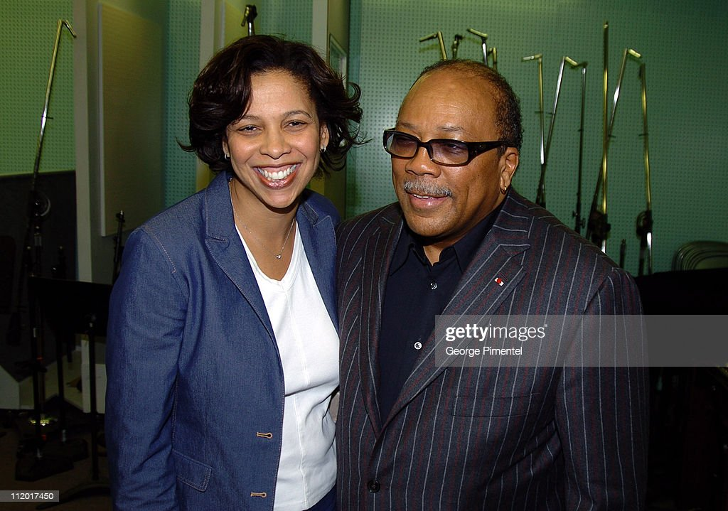 Angelia Bibbs-Sanders and Quincy Jones during Music Legend Ray Charles Gets Grammy Presidents's Merit Award at Ray Charles Enterprises in Los Angeles, CA, United States.