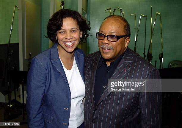 Angelia BibbsSanders and Quincy Jones during Music Legend Ray Charles Gets Grammy Presidents's Merit Award at Ray Charles Enterprises in Los Angeles...
