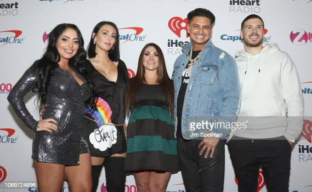 Angelia Pivarnick JWOWW Deena Nicole Cortese Pauly D and Vinny Guadagnino poses in the press room during Z100's Jingle Ball 2018 at Madison Square...